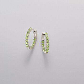 """2.90 ct. t.w. Peridot Inside-Outside Hoop Earrings in Sterling Silver. 7/8"""", , default"""