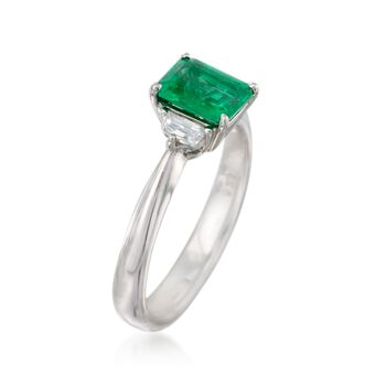 C. 2000 Vintage .91 Carat Emerald and .23 ct. t.w. Diamond Three-Stone Ring in 18kt White Gold. Size 5.25, , default