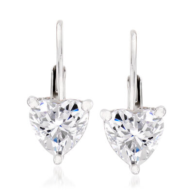 1.02 ct. t.w. Swarovski CZ Heart Earrings in Sterling Silver, , default