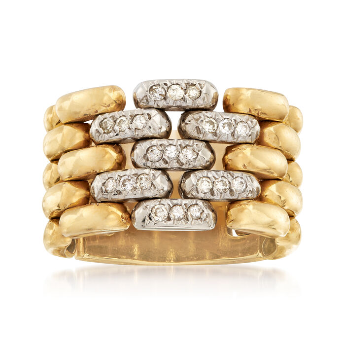 C. 1980 Vintage .25 ct. t.w. Diamond Panther-Link Ring in 18kt Two-Tone Gold. Size 6.5, , default