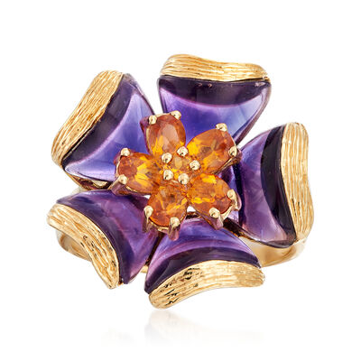C. 2000 Vintage .95 ct. t.w. Citrine and Amethyst Flower Ring in 14kt Yellow Gold, , default