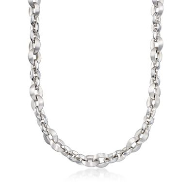 Italian Sterling Silver Link Necklace, , default