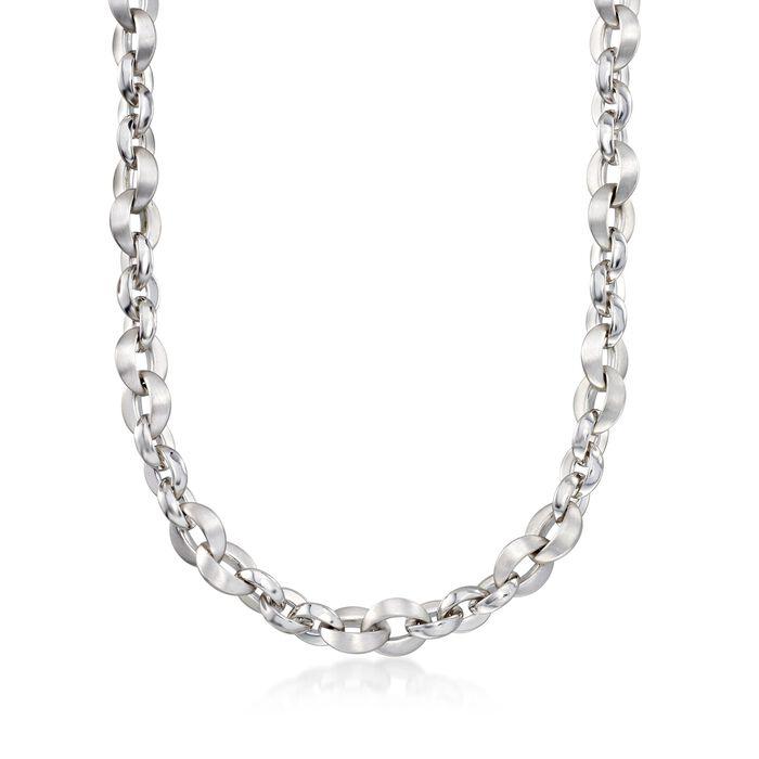 Italian Sterling Silver Link Necklace, , default