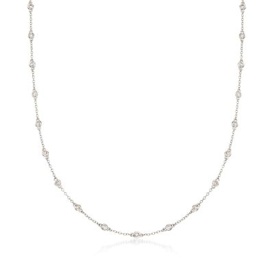 1.00 ct. t.w. Bezel-Set Diamond Station Necklace in 14kt White Gold, , default