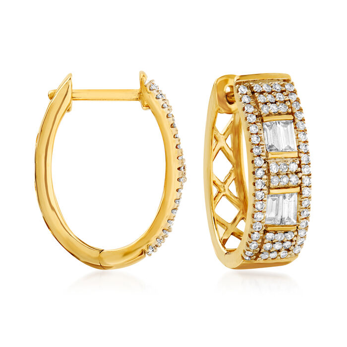 .50 ct. t.w. Diamond Oval Hoop Earrings in 14kt Yellow Gold