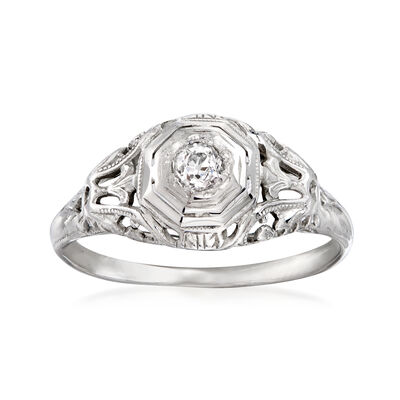 C. 1930 Vintage .10 Carat Diamond Filigree Ring in 18kt White Gold