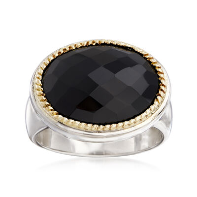 Black Onyx Ring in Sterling Silver with 18kt Yellow Gold, , default