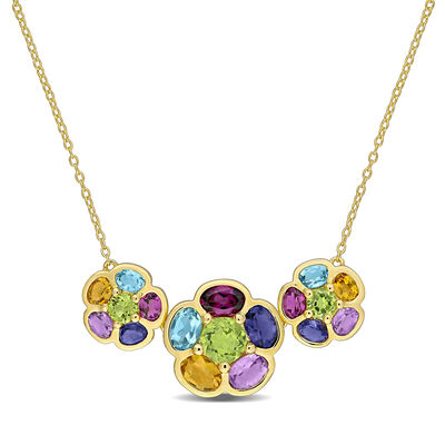 5.30 ct. t.w. Multi-Gemstone Triple-Floral Necklace in 18kt Gold Over Sterling