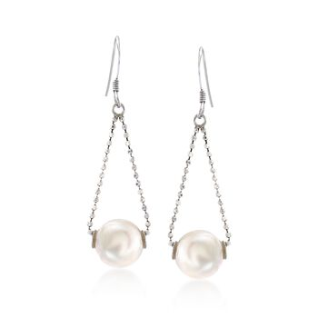9-10mm Cultured Freshwater Pearl Drop Earrings in Sterling Silver , , default
