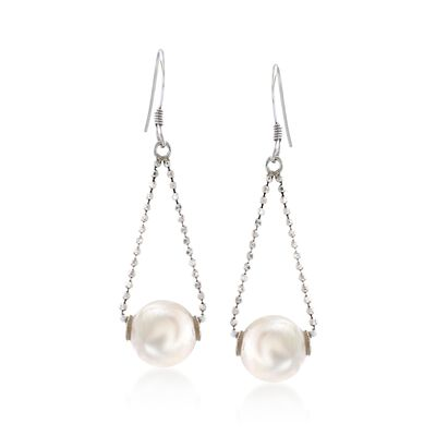 9-10mm Cultured Freshwater Pearl Drop Earrings in Sterling Silver, , default