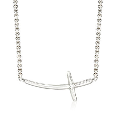 Zina Sterling Silver Sideways Cross Necklace, , default