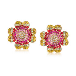 5.50 ct. t.w. Multicolored Sapphire and .26 ct. t.w. Diamond Floral Stud Earrings in 18kt Gold, , default