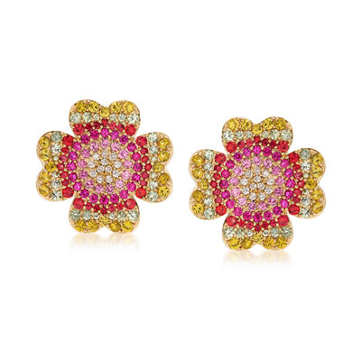 5.50 ct. t.w. Multicolored Sapphire and .26 ct. t.w. Diamond Floral Earrings in 18kt Gold, , default