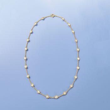10.00 ct. t.w. Bezel-Set CZ Station Necklace in 18kt Gold Over Sterling, , default