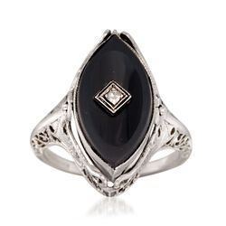C. 1950 Vintage Black Onyx Ring With Carved Shell and Diamond Accents in 14kt White Gold. Size 6, , default