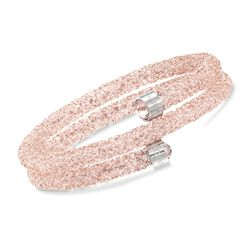 "Swarovski Crystal ""Dust"" Rose Pink Crystal Coil Bracelet in Stainless Steel. 7"", , default"