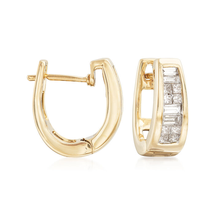 .49 ct. t.w. Channel-Set Princess and Baguette Diamond Hoop Earrings in 14kt Yellow Gold