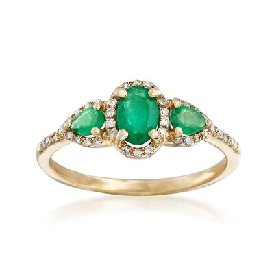 .60 ct. t.w. Emerald and .15 ct. t.w. Diamond Ring in 14kt Yellow Gold, , default
