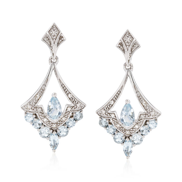 .80 ct. t.w. Aquamarine Chandelier Earrings with Diamonds in Sterling Silver, , default