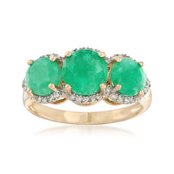 2.70 ct. t.w. Emerald and .11 ct. t.w. Diamond Three-Stone Ring in 14kt Yellow Gold, , default