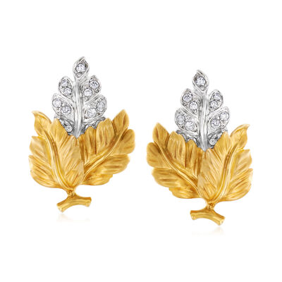 C. 1980 Vintage .80 ct. t.w. Diamond Leaf Earrings in 18kt Two-Tone Gold