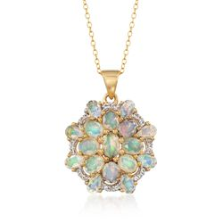 "Opal and .10 ct. t.w. White Topaz Fancy Cluster Pendant Necklace in 18kt Gold Over Sterling. 18"", , default"