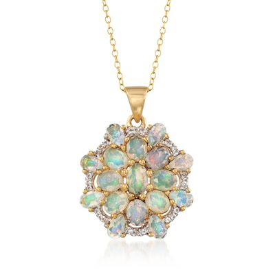 Opal and .10 ct. t.w. White Topaz Fancy Cluster Pendant Necklace in 18kt Gold Over Sterling, , default