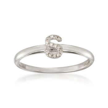 """Diamond Accent Mini Initial """"S"""" Ring in Sterling Silver, , default"""