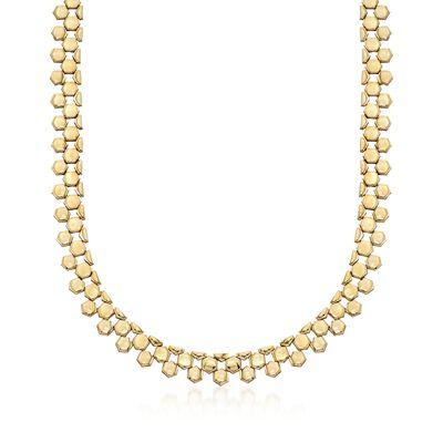 C. 1970 Vintage 14kt Two-Tone Gold Geometric Link Necklace, , default