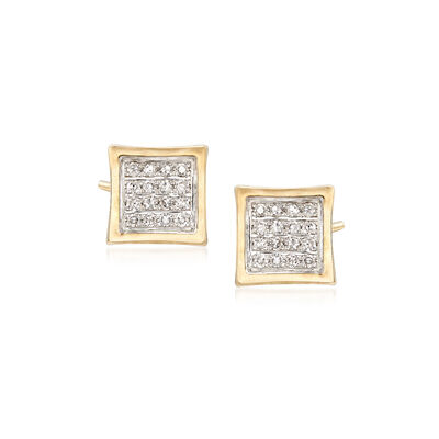 .10 ct. t.w. Diamond Square Earrings in 14kt Yellow Gold, , default