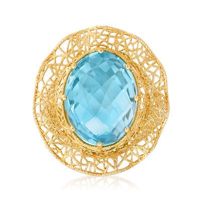 C. 1980 Vintage 9.80 Carat Blue Topaz Ring in 14kt Yellow Gold, , default