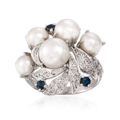 5-8mm Cultured Pearl and .20 ct. t.w. Sapphire Ring with Diamonds in Sterling Silver, , default