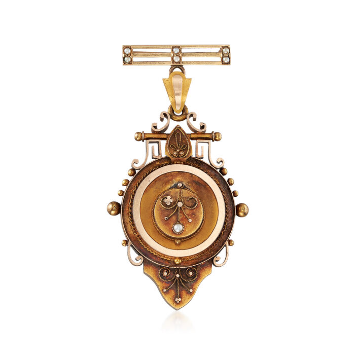 C. 1920 Vintage Cultured Pearl Locket Pin in 15kt Yellow Gold, , default