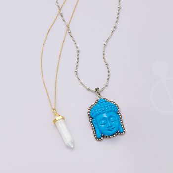 """Synthetic Turquoise and .67 ct. t.w. Champagne Diamond Buddha Pendant Necklace in Sterling Silver. 18"""", , default"""