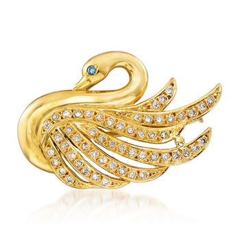 """C. 1980 Vintage .45 ct. t.w. Diamond Swan Pin/Pendant Necklace in 18kt Yellow Gold. 14"""", , default"""