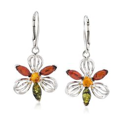Tonal Amber Flower Drop Earrings in Sterling Silver, , default