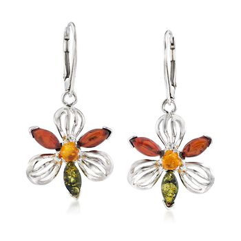 Tonal Amber Flower Drop Earrings in Sterling Silver, , default