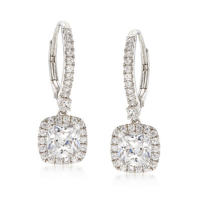 3.06 ct. t.w. CZ Drop Earrings in Sterling Silver, , default