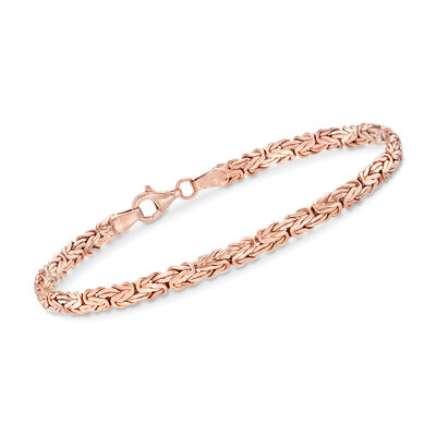 18kt Rose Gold Over Sterling Silver Flat Byzantine Bracelet