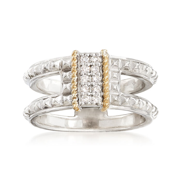 """Andrea Candela """"La Romana"""" .14 ct. t.w. Diamond Ring in Sterling Silver and 18kt Gold. Size 7, , default"""