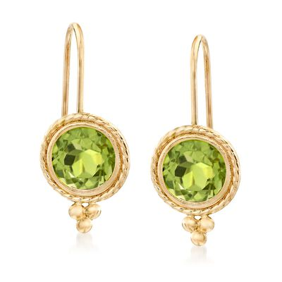 1.75 ct. t.w. Peridot Drop Earrings in 14kt Yellow Gold, , default