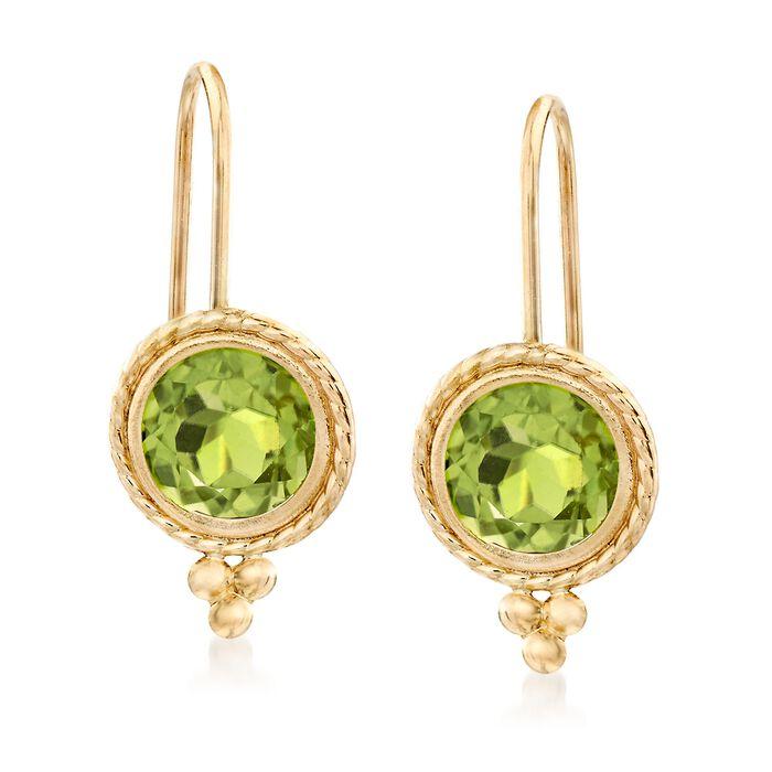 1.75 ct. t.w. Peridot Drop Earrings in 14kt Yellow Gold, , default