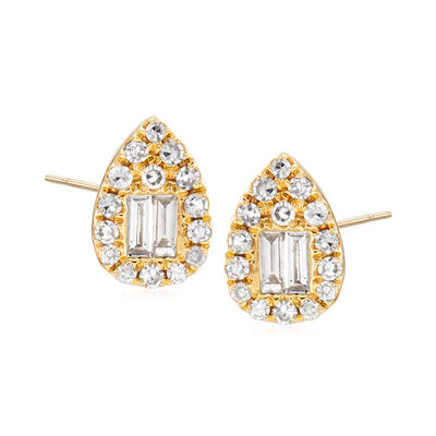 .31 ct. t.w. Round and Baguette Diamond Teardrop Earrings in 18kt Yellow Gold