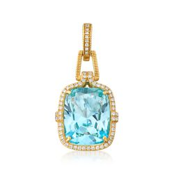 "Judith Ripka ""Arianna"" 17.06 Carat Blue Topaz and .49 ct. t.w. Diamond Pendant in 18kt Yellow Gold , , default"