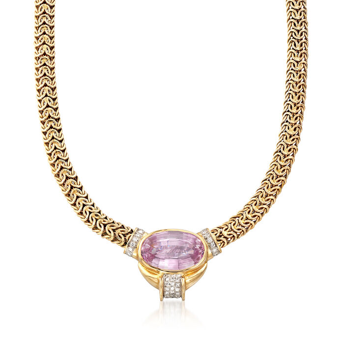 """C. 1980 Vintage 35.80 Carat Pink Kunzite and .75 ct. t.w. Diamond Byzantine Necklace in 14kt Yellow Gold. 16"""", , default"""