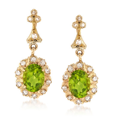 C. 1990 Vintage 3.68 ct. t.w. Peridot and .65 ct. t.w. Diamond Drop Earrings in 14kt Yellow Gold