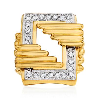 C. 1970 Vintage .75 ct. t.w. Diamond Geometric Ring in 18kt Yellow Gold