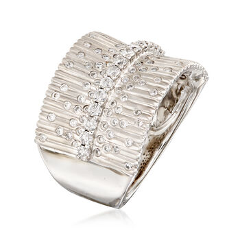.69 ct. t.w. Diamond Bar and Burst Ring in 14kt White Gold, , default