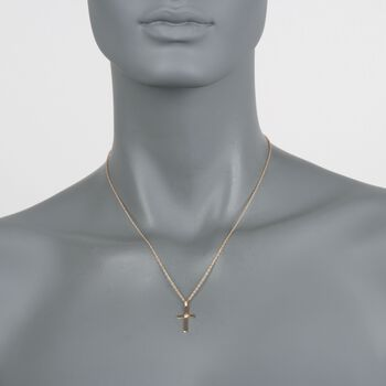 "14kt Yellow Gold Cross Pendant Necklace with Diamond Accent. 18"", , default"