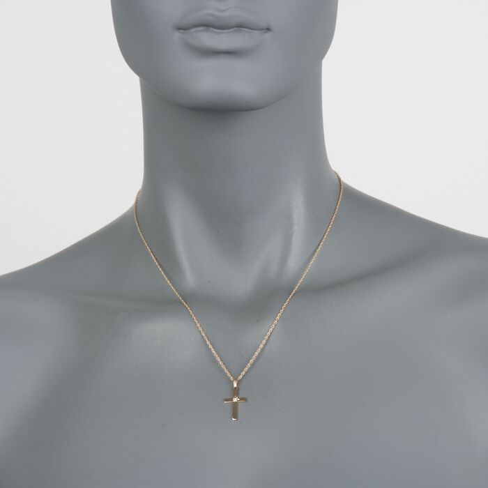 14kt Yellow Gold Cross Pendant Necklace with Diamond Accent